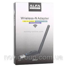 Бездротовий мережевий адаптер з антеною 10см Wi-Fi-USB LV-UW07 - 5370, 802.11 bgn, 300MB, 2.4 GHz, WIN7 / XP / Vista / 2K / MAC / LINUX, Box Q