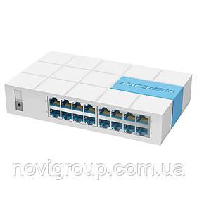 Комутатор Mercury S116M, 16 портів Ethernet 10/100 Мбіт / сек, BOX Q14 (280*225*67) 0.56 кг (185*110*38)