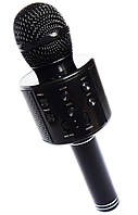 Микрофон для караоке, WSTER WS858, блютуз микрофон для пения, детский микрофон с динамиком (Черный)