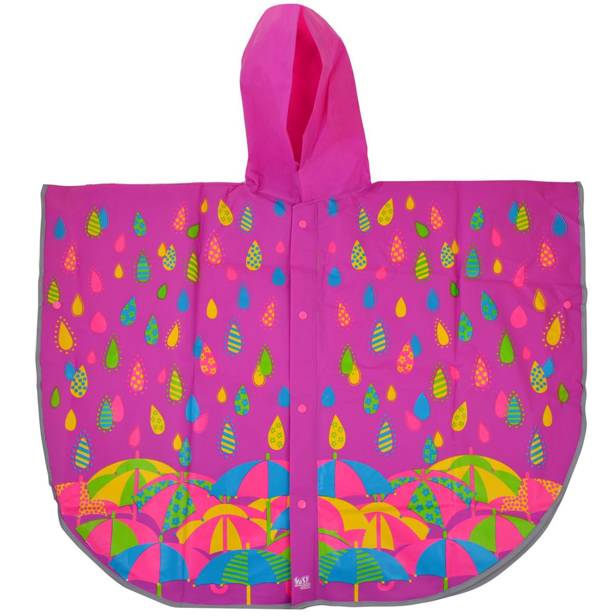 Дождевик-пончо YES со светоотражающим кантом «Яркие зонтики» код: 706944