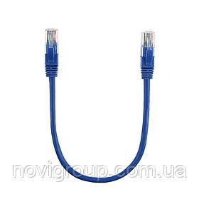 Патч-корд литий RITAR, CCA, UTP, RJ45, Cat.5e, 0,3m, синій Q710