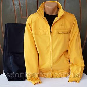 Мужской спортивный прогулочный трикотажный костюм Soccer, Турция, жёлтый/тёмно-синие, 70 хлопка.