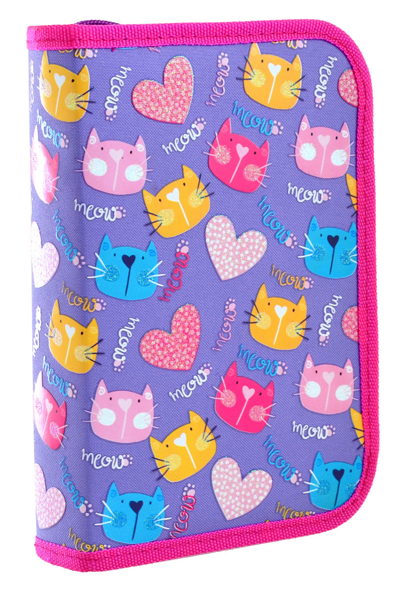 Пенал твердый YES  одинарный с двумя клапанами HP-04 Loving Cats код: 532556