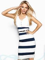 Платье из костюмной ткани в принт полоску   44 размера