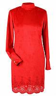 Красное замшевое платье с перфорацией   42 размера