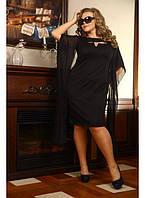 Нарядное платье с шифоновыми рукавами черного цвета