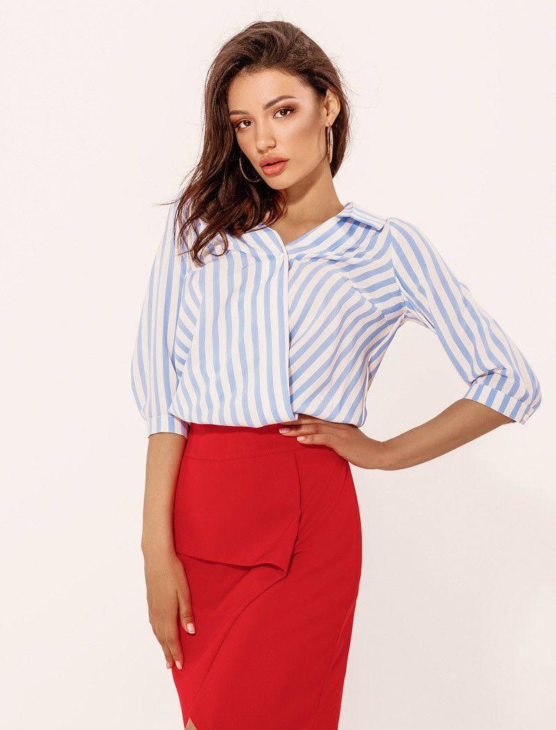 Купить Женская юбка красного цвета на запах 44 размера