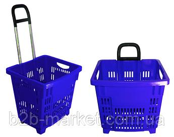 Корзина покупця 55л Синя на колесах