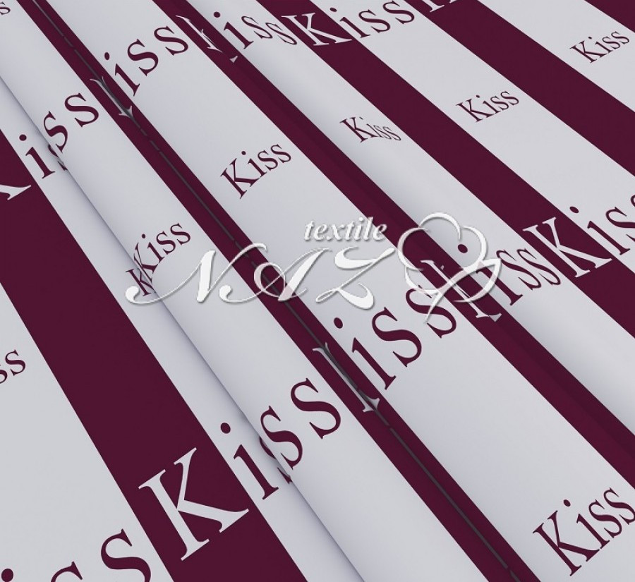 Полуторне простирадло з ранфорсу - Kiss, бордовий