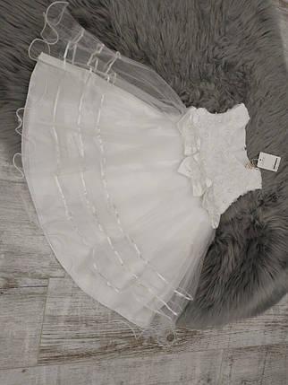 Нарядное детское платье на девочку с бантами белое 3-8 лет, фото 2