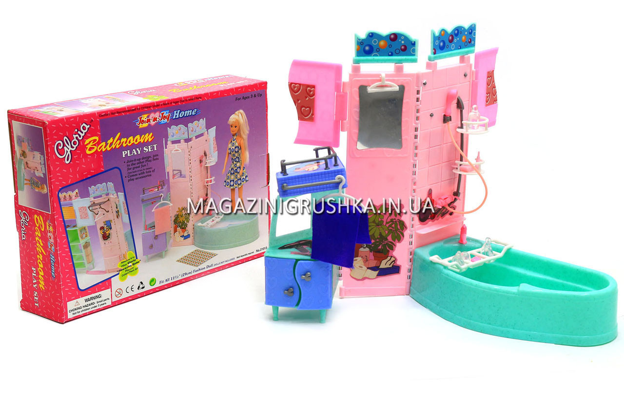 Детская игрушечная мебель Глория Gloria для кукол Барби Ванная 21013. Обустройте кукольный домик