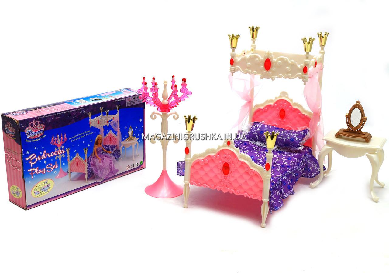 Дитяча іграшкова меблі Глорія Gloria для ляльок Барбі Спальня 1214. Облаштуйте ляльковий будиночок