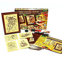 Детский набор для выжигания по дереву (2 рамки, 5 рисунков, 6 насадок + выжигатель)