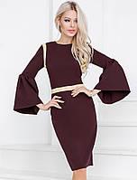 Нарядное платье с расклешенными рукавами 42 размера