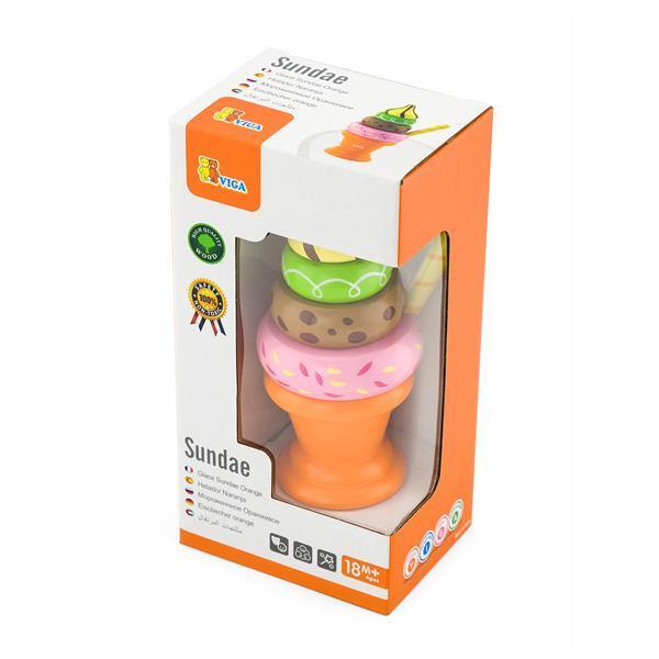 Игрушечные продукты Viga Toys Деревянная пирамидка-мороженое, оранжевый (51322)