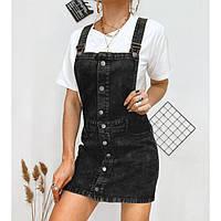 Сарафан джинсовый женский черный на пуговицах 3310-2
