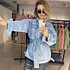 Джинсовый удлиненный пиджак с поясом, фото 6