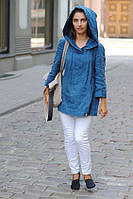 Женская льняная рубаха блуза туника с капюшоном., фото 1