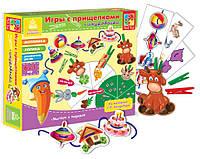 Развивающая настольная игра для детей «Игры с прищепками + шнуровочка» (6 в 1) VT1604-01, фото 1