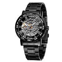 Годинники чоловічі Winner Diamonds W614 Black наручні з стразами скелетон металеві Fashion