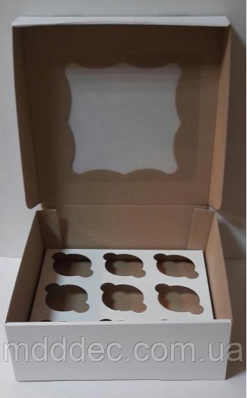 Коробка для кексов + окно на 9 шт 260х260х90