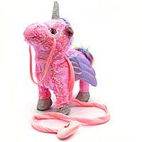 Интерактивная мягкая игрушка «Пони» единорог на поводке (розовая), ходит, поет, ржет 30*10*35 см (M1244)