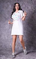 Женское платье из тонкой плетеной ткани с модным принтом Poliit 8745