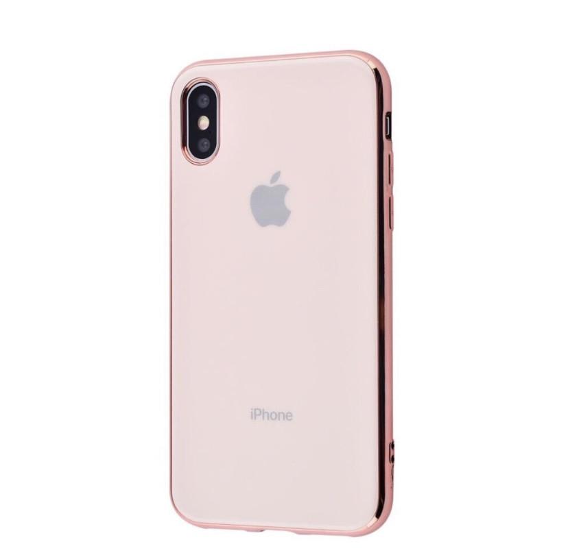Чехол накладка Crystal для Iphone X\Xs Розовый