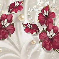 Фотообои цветы 3д эффект Рубиновые цветы размер 196смХ278см, 16 листов