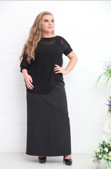 Классическая длинная черная юбка 54 размера