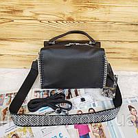 Жіноча шкіряна сумка бочонок з двома ремінцями Polina & Eiterou, фото 5