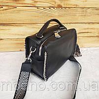 Жіноча шкіряна сумка бочонок з двома ремінцями Polina & Eiterou, фото 6