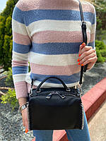 Жіноча шкіряна сумка бочонок з двома ремінцями Polina & Eiterou, фото 4