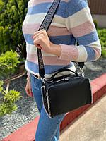 Жіноча шкіряна сумка бочонок з двома ремінцями Polina & Eiterou, фото 3