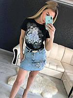 Костюм джинсовая юбка и футболка с аппликацией, фото 1