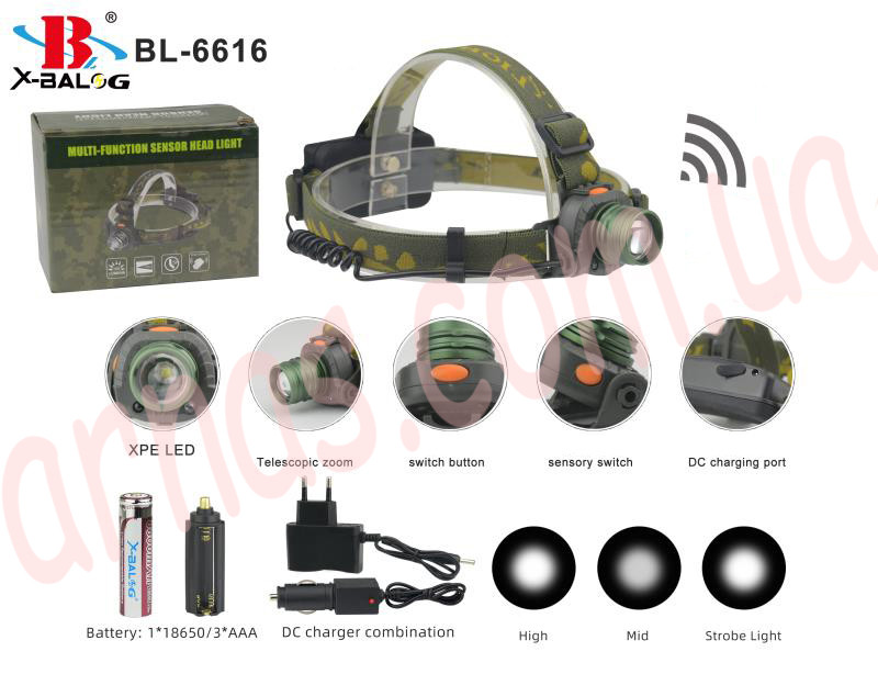 Аккумуляторный налобный фонарь BL-6616