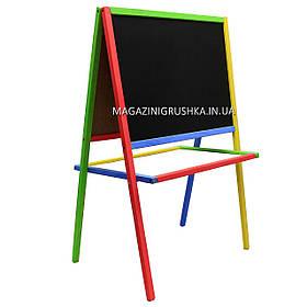 Мольберт детский двухсторонний магнитный разноцветный для маркеров, магнитов и мелков