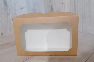 Коробка для эклеров 230*150*60 с окном крафт