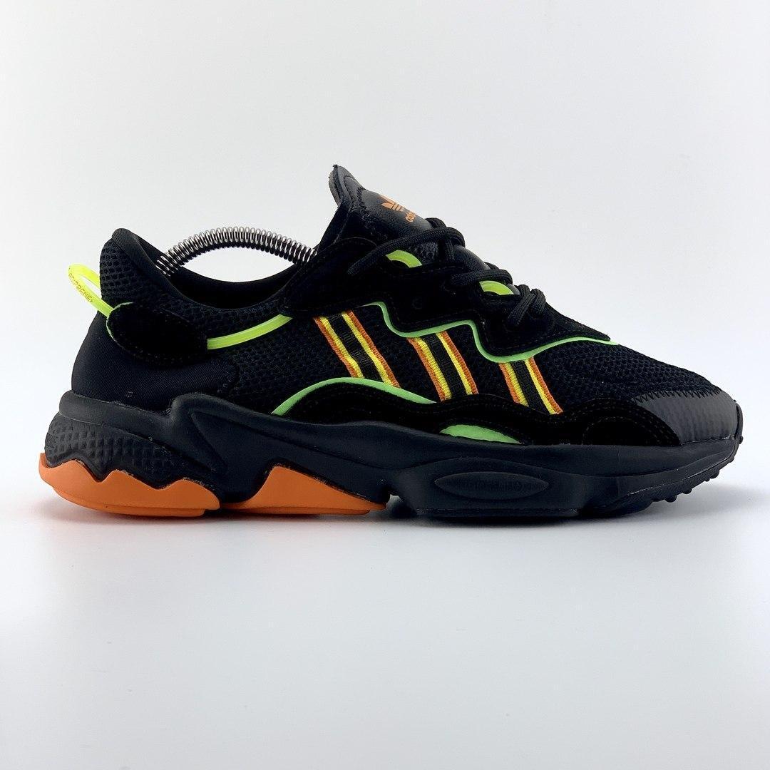 Мужские кроссовки Adidas Ozweego Black Green Orange / Адидас Озвиго Черные Зеленые Оранжевые