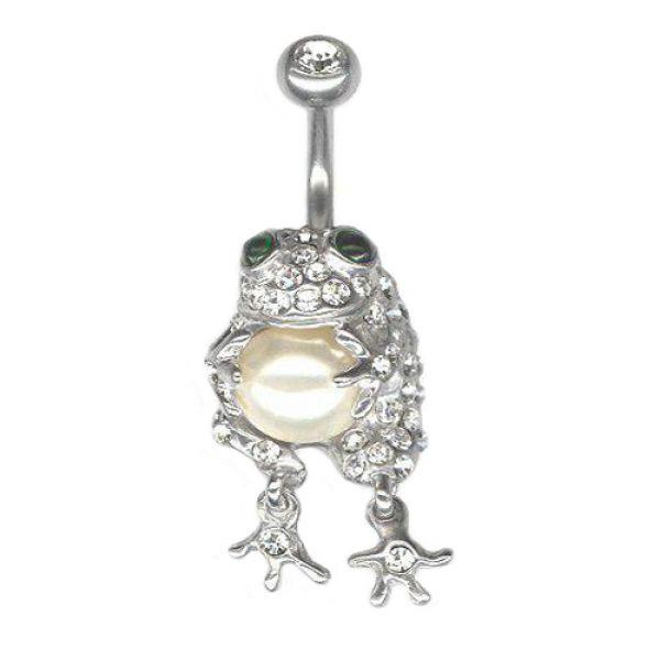 Серьга стальная жаба с жемчугом и кристаллами Swarovski 175977