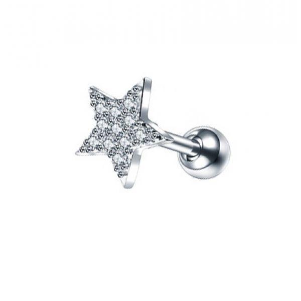 Серьга стальная звезда с россыпью кристаллов 175978