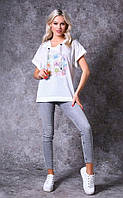 Женская футболка с капюшоном из тонкого трикотажа Poliit 3000-1