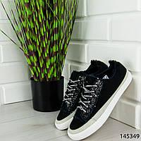 """Кроссовки женские, черные """"Kotena"""" текстильные, сникерсы женские, мокасины женские, повседневная обувь"""