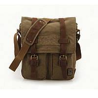Чоловіча брезентова вертикальна сумка месенджер S.c.cotton кольору хакі, фото 1
