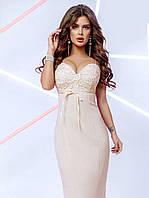 Женское платье-миди бежевого цвета  58 размера