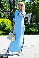 Женское стильное летнее льняное платье рубашка макси Разные цвета