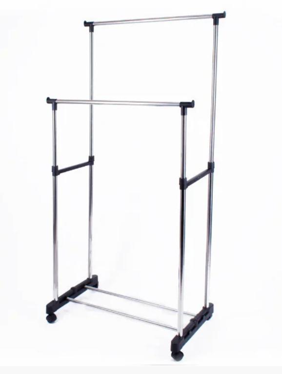 Вешалка-стойка двойная телескопическая Double Pole Clother Hose