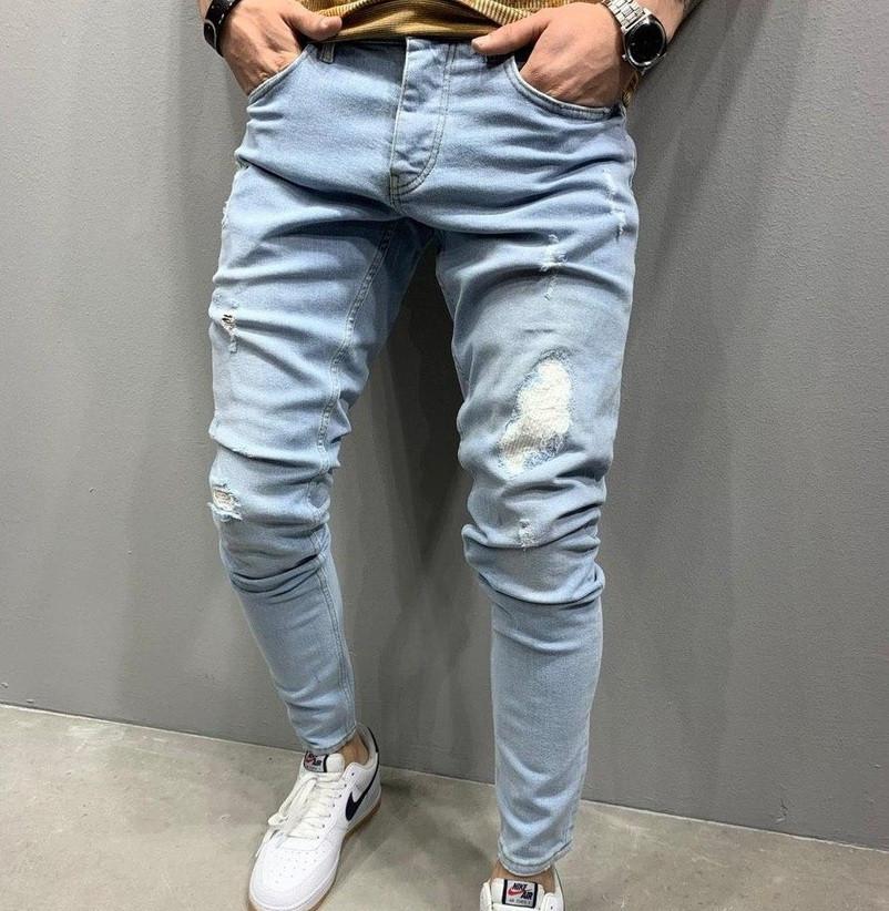 Мужские джинсы рваные с потертостями весна-осень светло голубые Турция. Живое фото. Люкс качество