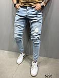 Мужские джинсы рваные с потертостями весна-осень светло голубые Турция. Живое фото. Люкс качество, фото 3