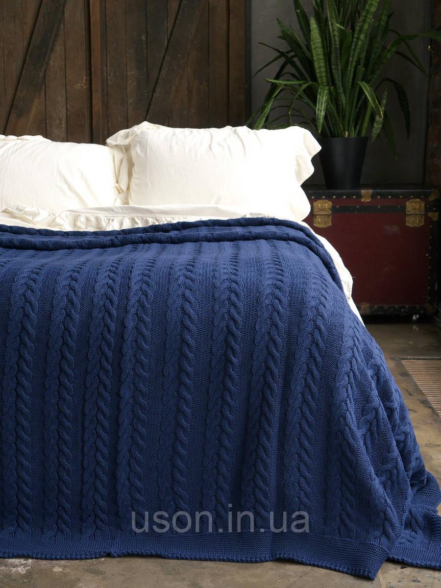 Покрывало вязаное  170x240 BETIRES bremen navy blue